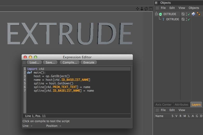 C4D Python Quicktip: Change Text by Renaming Extrude | Luke